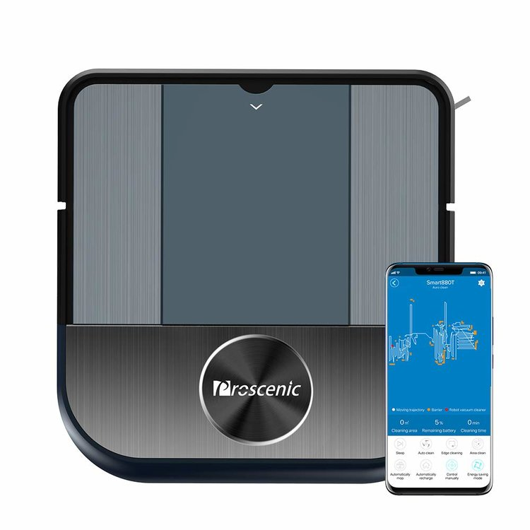 Proscenic 880L a square-shaped robot vacuum on gyroscope