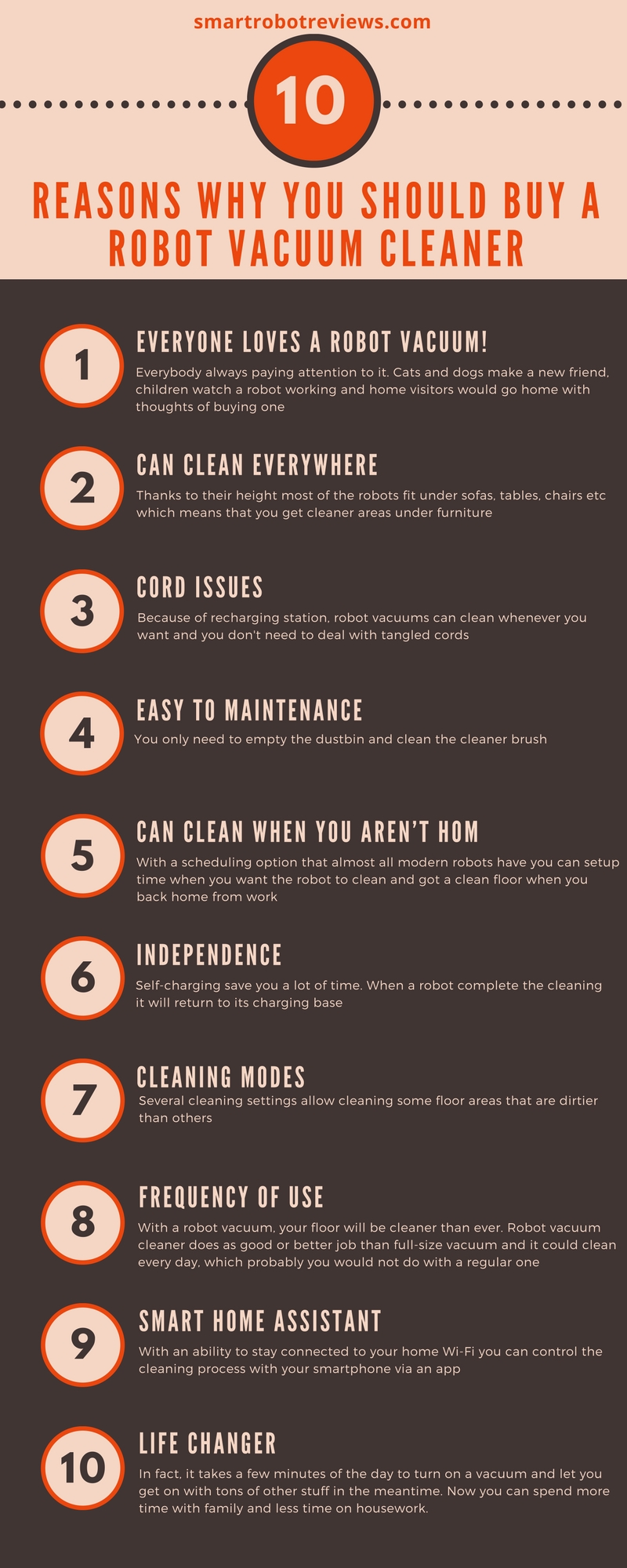 10 reasons why you should buy a robot vacuum cleaner Infographic via smartrobotreviews