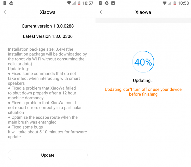 Screenshot of Mi Home Xiaowa firmware upgrade
