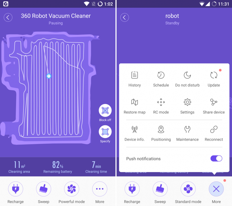 360 S6 robot vacuum app screenshot