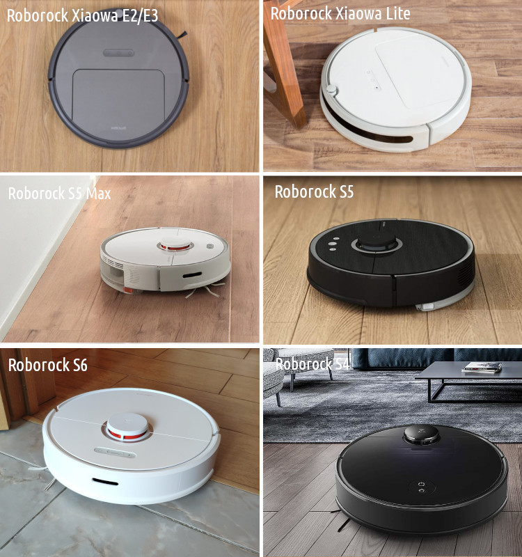 What is the difference between the Xiaomi Mi Robot, Roborock S5, Xiaowa Lite C1, Xiaowa E2, and E3